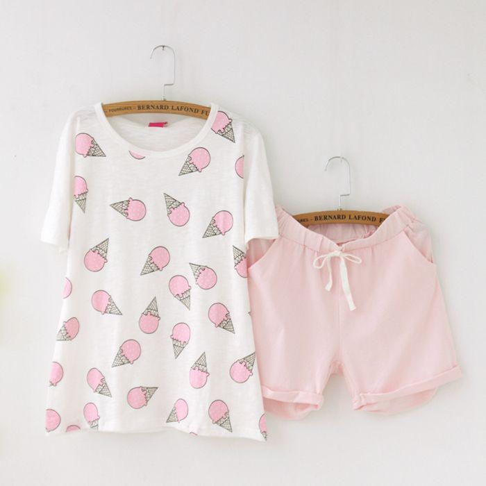 Girly Girl Originals Pajamas on Girly Girl の To Alice.Cute Summer Ice Cream Pajamas Pink Comfy Short Sleepwear Gg319 make you more charming on dates.