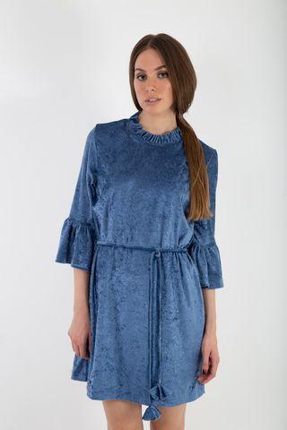 Crushed blue velvet dress close up