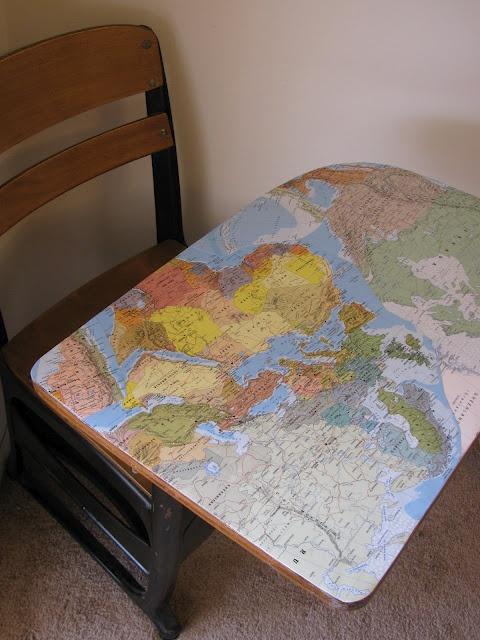 A Bunch of Bishops: Mod Podge School Desk {Simple DIY}