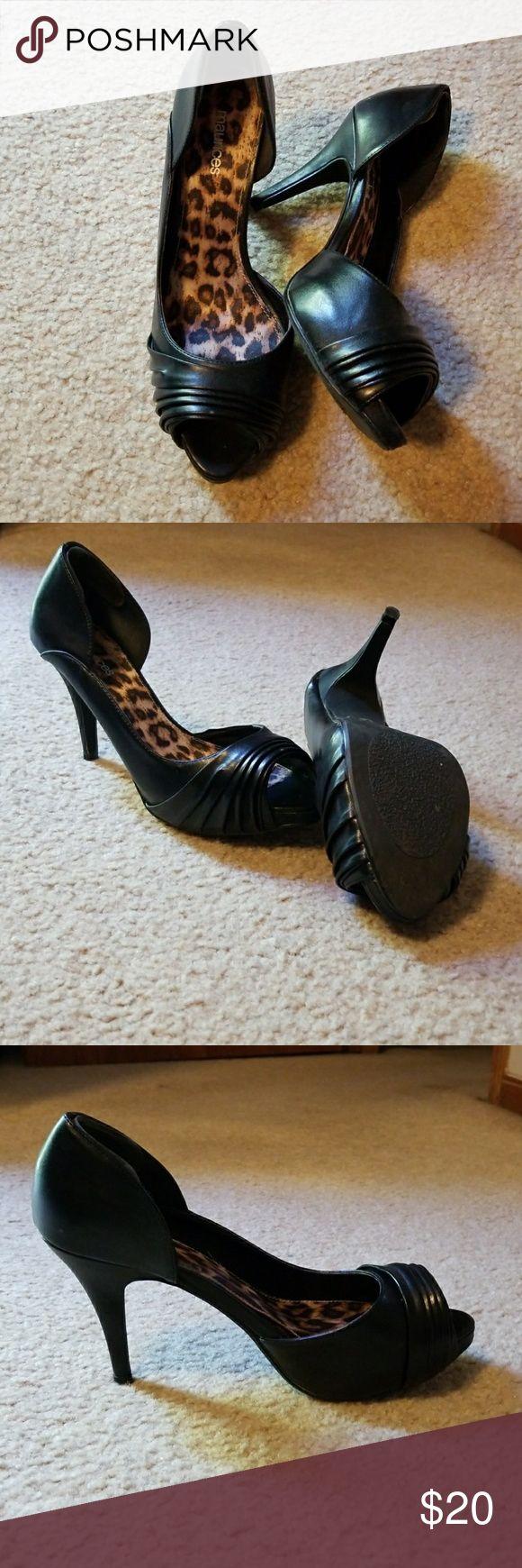 Selling this Black Peep toe heels on Poshmark! My username is: sarahanne0714. #shopmycloset #poshmark #fashion #shopping #style #forsale #Maurices #Shoes