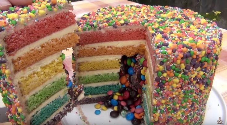 RAINBOW PINATA CAKE - Simple Home Made Cake Batter