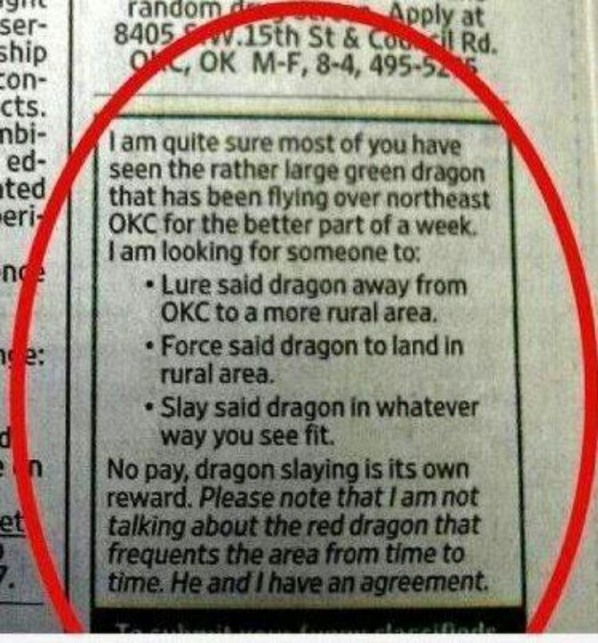 Classified ad of the day