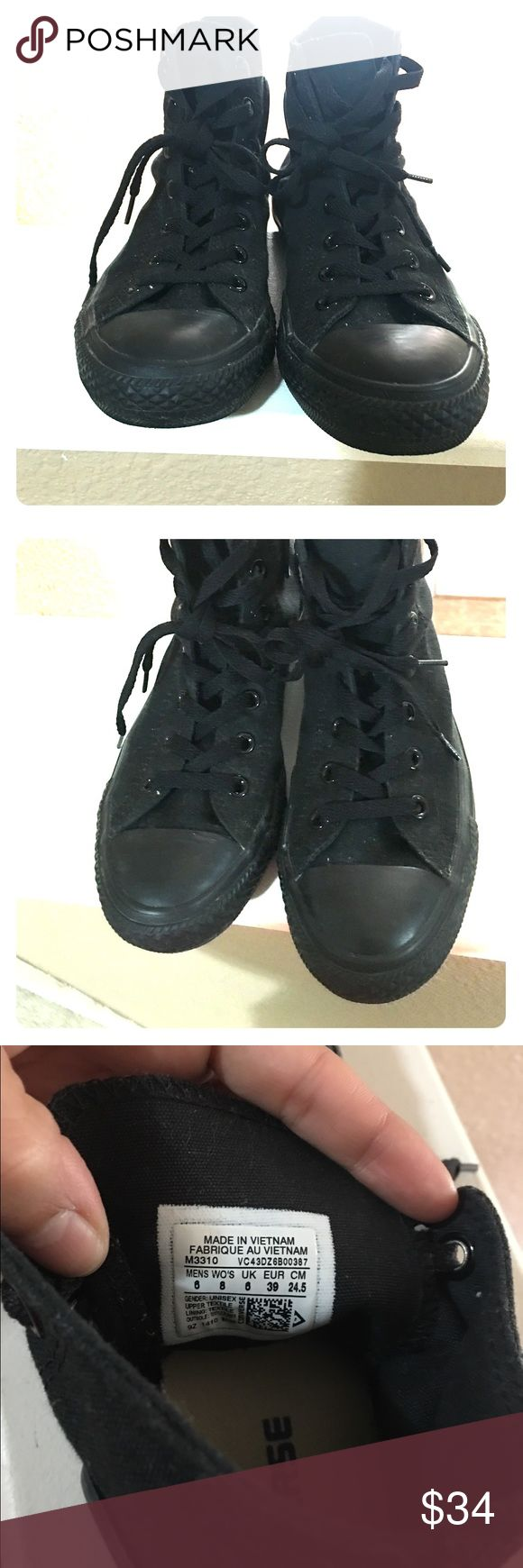 Converse Hugh top monochrome sneakers black Excellent quality high top converse sneakers. No wearing on toes or outer cosmetic appearance. Bottom in good condition with some slight wearing. The outer shoe is canvas, so may need to lint roll to keep clean due to black color. Converse Shoes Sneakers