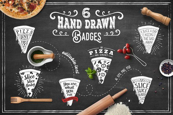 6 Hand Drawn Pizza Slice Badges by Cosmic Store on @creativemarket