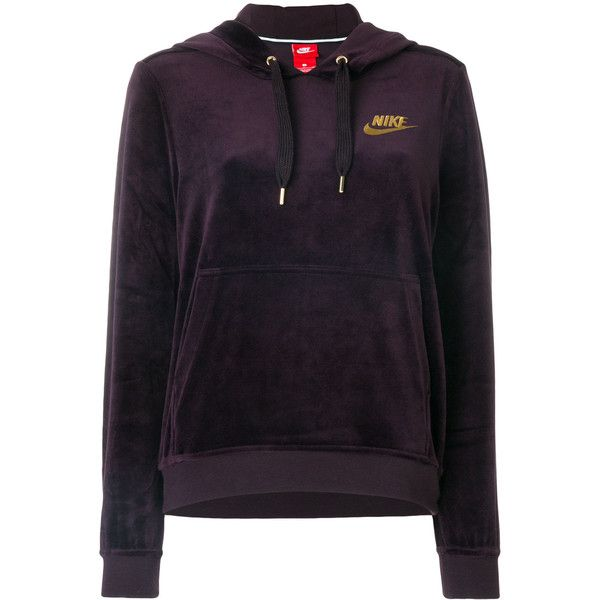Nike velour logo embroidered hoodie (1,000 EGP) ❤ liked on Polyvore featuring tops, hoodies, purple, long sleeve hoodies, purple top, purple hoodies, logo hoodies and purple long sleeve top