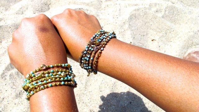 Turquoise bracelet wraps/necklace.  $130-$133. Style number: IX58TRQ GLD/TRQ/GLD Versatile jewelry at http://www.ijewelsonline.com