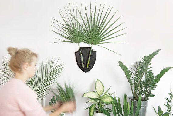 Wand-Wand-Vase, Wall Planter Hirsch Kopf, Deer Blumenvase, Pflanzer, schwarzer Hirsch Kopf