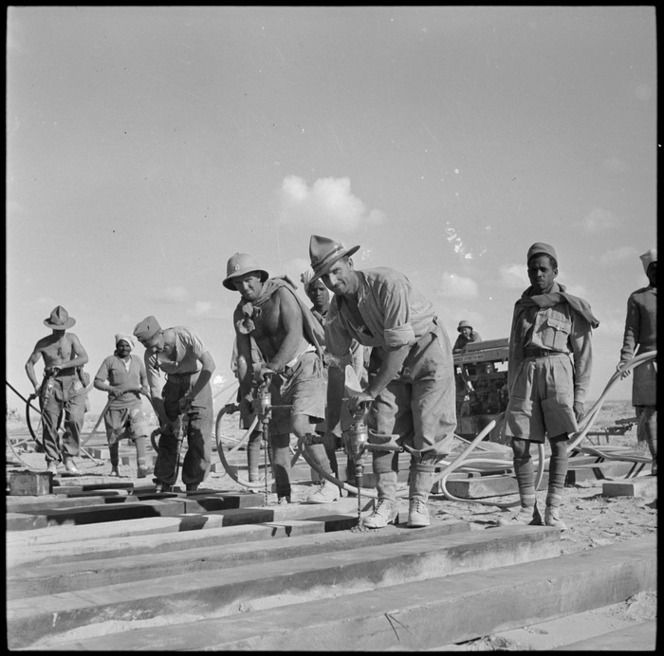 NZ Railway Construction Company at work on the Western Desert railway, World War II