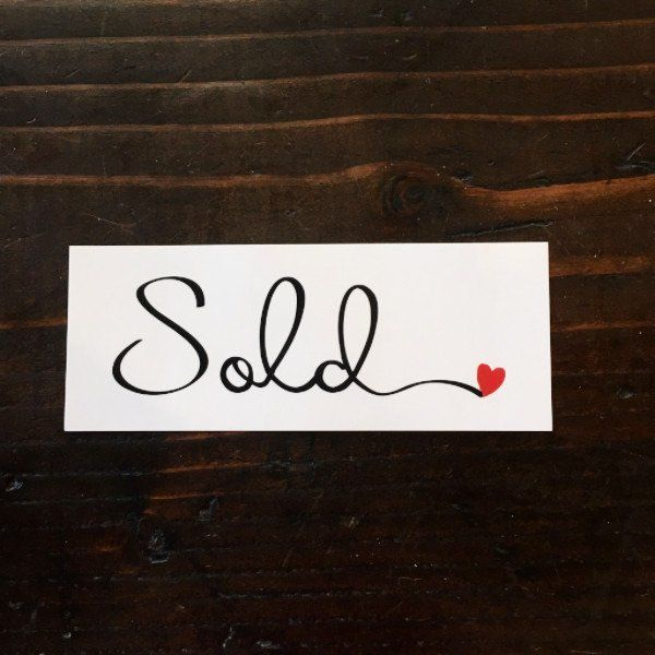 MINI Sold sticker - Cursive w heart