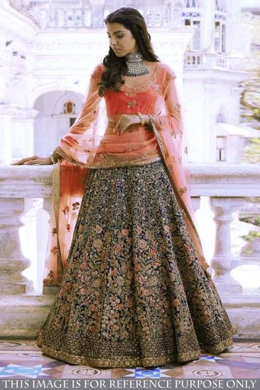 cc643e7e8d Shop Latest Designer New Arrival Navy Blue Banglori Silk Lehenga With  Banglori Silk Choli - DMV15590 for women online #Designerlehenga #Navyblue  ...
