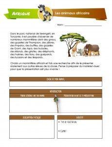 Activité dans laquelle les enfants devront faire une recherche sur un mammifère africain.
