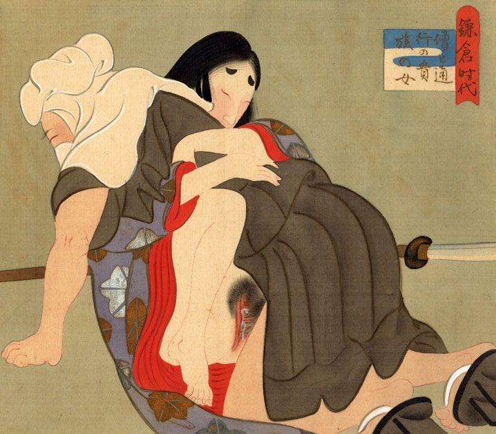 Questa preziosa pittura su seta è ambientata nel periodo Kamakura (鎌倉時代), l'era della storia giapponese durante la quale si assiste allo spostamento del potere dalla classe aristocratica a quella militare dei samurai. Protagonisti della scena, come leggiamo nel riquadro bianco e azzurro in alto a destra, sono un monaco soldato sohei (僧兵) armato di un'alabarda naginata (薙刀) ed una nobildonna di passaggio (通行の貴族の女)... (continua)