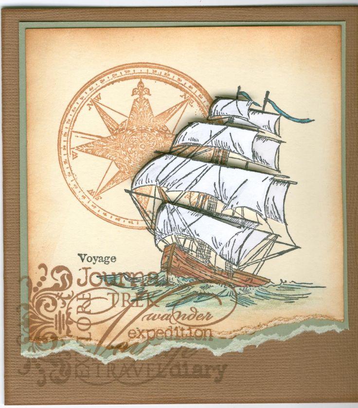 Windward 1073G, Vintage Compass 3530E, Voyage 4496E, Journey Words 2911C:  Stamp-it Australia. Card by Susan of Art Attic Studio