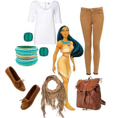 Dress like #pocahontas!! Brown Flatts, scarf, jeggings, and top. To make or break the outfit, you should have longgg dark hair!