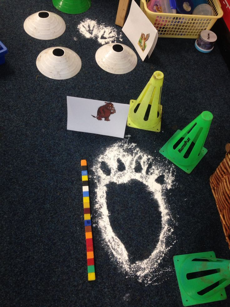 When the Gruffalo & friends came to school! - footprints, numeracy,  measurement, non-standard measure, creative, maths, EYFS, Gruffalo. (Just done with cardboard cut outs of the characters footprints and baby talc sprinkled around them)