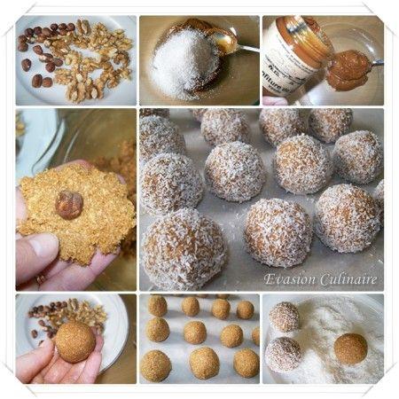 Boules noix de coco De petites mignardises sans cuisson au bon goût de  caramel car préparées avec de la confiture de lait et de la noix de coco.