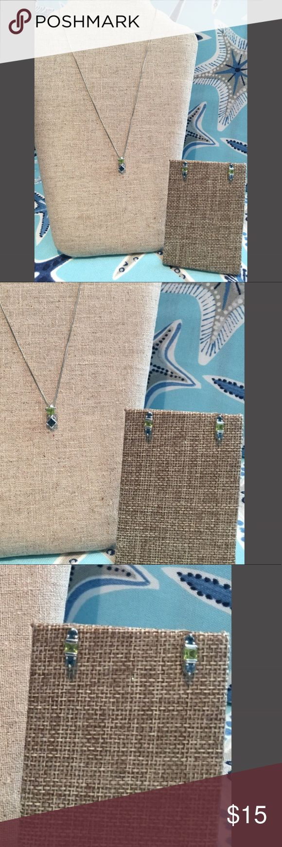 Sapphire & Peridot Necklace & Matching Earrings Beautiful Sapphire & Peridot Necklace Charm and Matching Earrings.   Can't go wrong with this set.  Doesn't include necklace. Jewelry