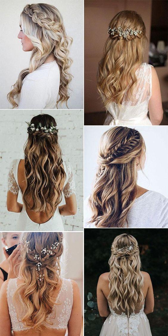 halb oben halb unten Hochzeitsfrisuren für 2019 / Hochzeitsfrisuren für lange Haare / Hochzeitsfrisuren mit ...