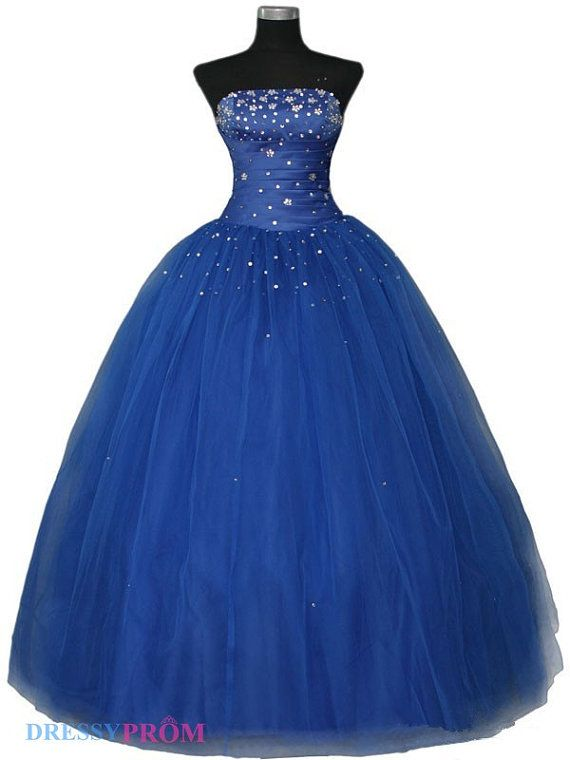 strapless prom dressball gown prom dressroyal blue prom