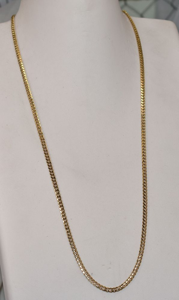 14 K Yellow Gold Solid 3 5 Mm Fancy Curb Link Chain 24 Inch 19 6