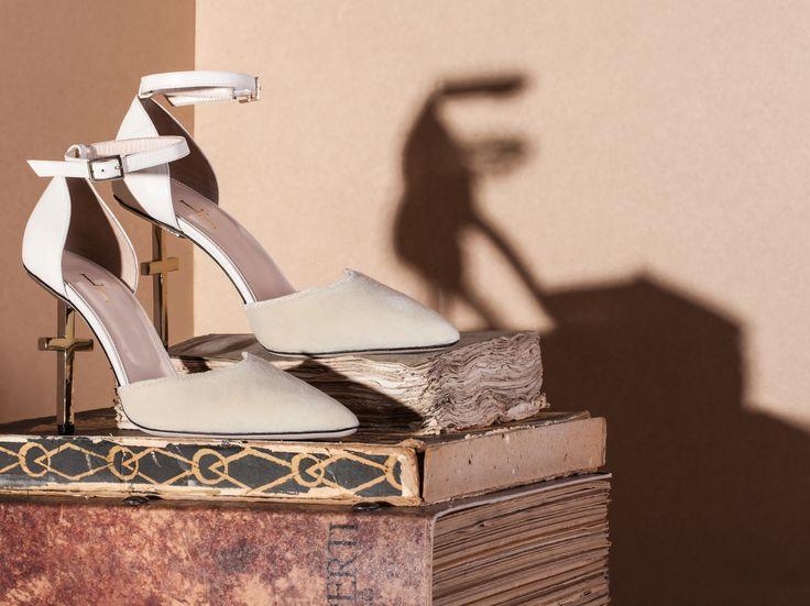 Salvation, cross heel, nappa leather, pump, Ivory, Lamperti Milano