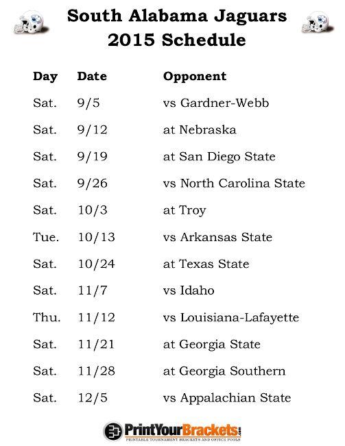Printable South Alabama Jaguars Football Schedule 2015