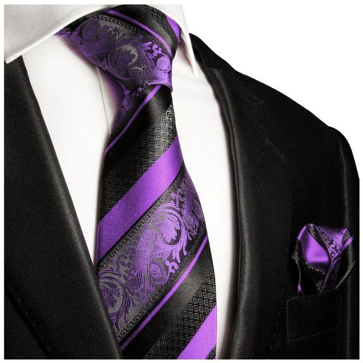 Purple and Black Silk Tie Set . Paul Malone Red Line
