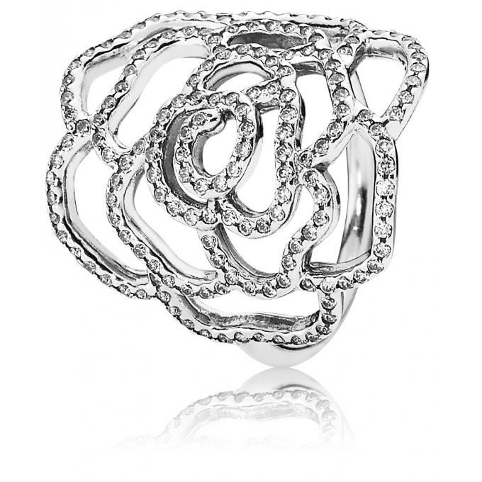Bague Pandora 190950CZ - Bague Moyenne Rose Scintillante Femme