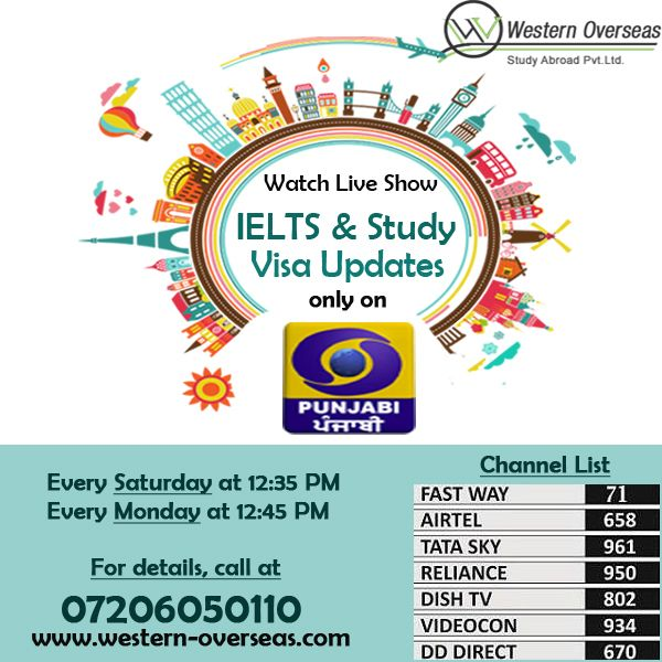 DD Punjabi Live T.V Show by Mr. Pardeep Balyan. Watch new rules of #IELTS & Study #Visa today at 12:35 pm & Monday at 12:45 pm