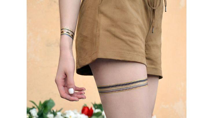 Inukshuk, tatouages temporaires dorés et colorés par Anais Dedit