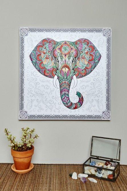 Elephant Mandala Canvas Art