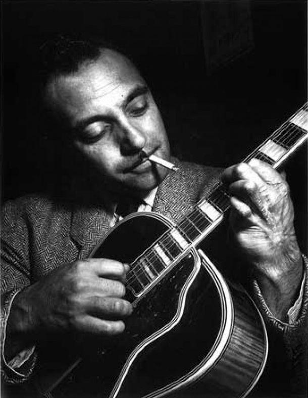 Django Reinhardt (1910-1953) - Belgian guitarist and composer of Romani heritage. Photo by William Gottlieb, NY 1946