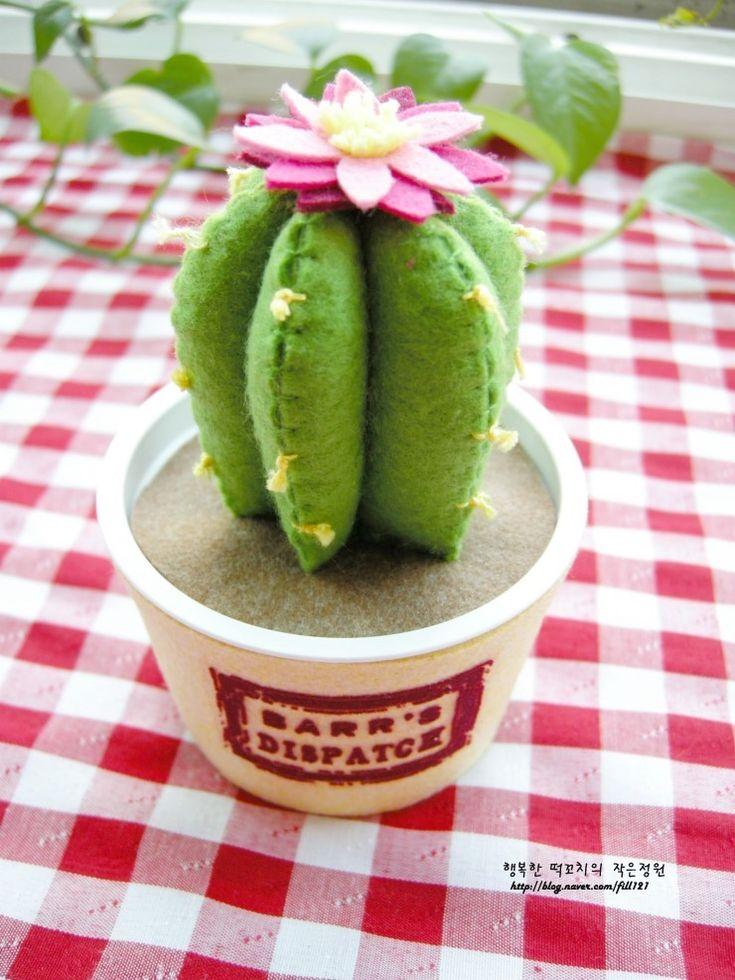 선인장에 꽃이 폈어요~ ^^* - 선인장 화분 만들기 [ 펠트 공예 , 펠트 식물 , 인테리어 소품 ] : 네이버 블로그