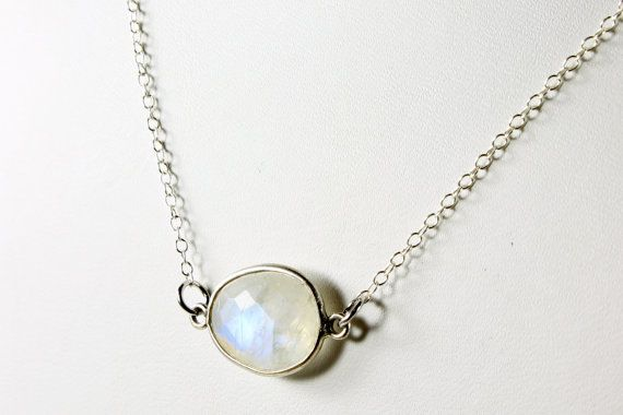 Moonstone Necklace Sterling Silver milky white iridescent