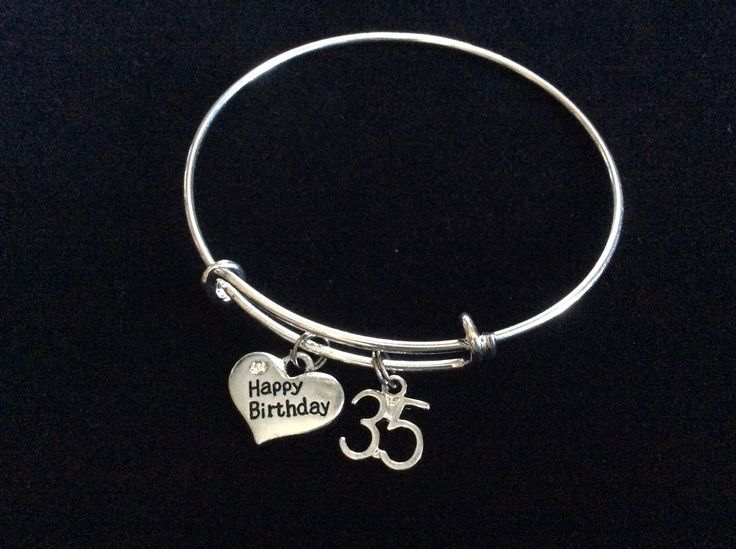 Happy 35th Birthday Expandable Charm Bracelets Adjustable Bangle Gift (Other Numbers Available)