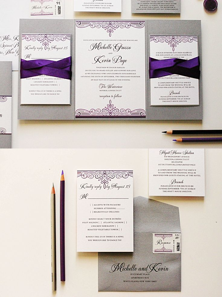 Purple and Silver Wedding Invitations 24 best