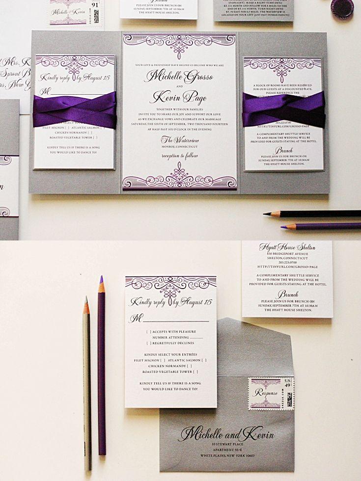 purple white silver wedding invitations%0A Purple and Silver Wedding Invitations
