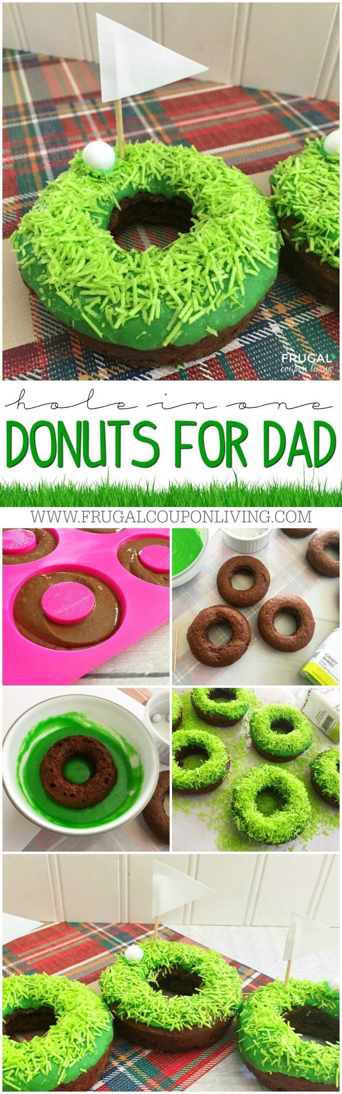 We love these Golf Donuts for Dad! We made an easy Father's Day Dessert that is creative and fun and personalized just for dad! It's a hole in one!