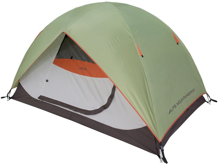 """ALPS Mountaineering Meramac 5-Person Tent. Free Standing 2 Pole Design with Shock Corded Fiberglass Poles. Great Ventilation with 2 zippered windows (in the doors) and large side mesh panels. Weatherproof Fly with a Ridge Pole provides an Awning over each Door. Factory Sealed Fly & Floor Seams give best weather protection. Easy Entry with 2 Doors and """"single zip operation""""."""