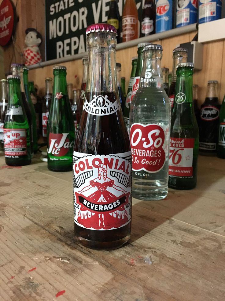 Vintage colonial soda bottle full cola drinks soda