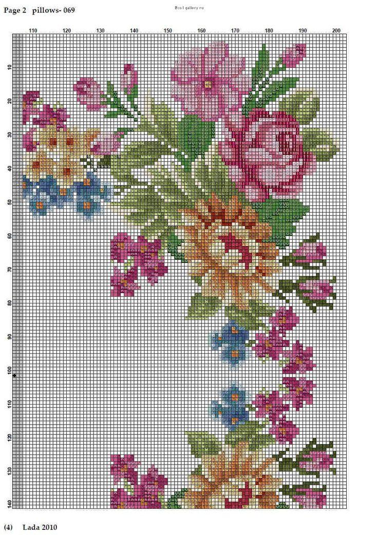 Cross stitch Sq. floral cushion part3