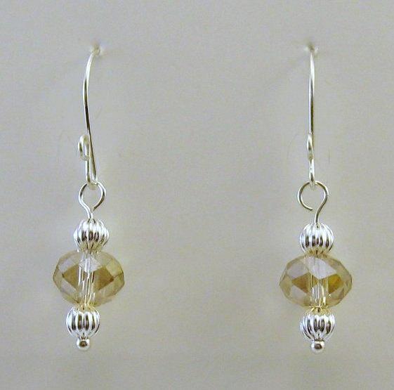 Champagne crystal drop earrings by SilverLiningsbeads on Etsy, $8.00