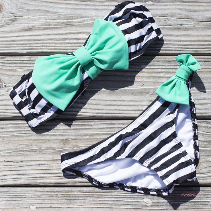 Sailor's Girl Navy Striped Mint Bow Bandeau Bikini