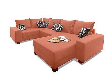 Wohnlandschaft, Primabelle, Luxus-Microfaser oder Struktur Jetzt - wohnzimmer orange beige