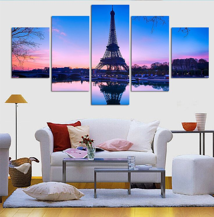Aliexpress.com : Buy Painting On The Wall Canvas Printed Painting Paris Eiffel Tower Picture For Home Decoration Modern Wall Art 5pcs(Unframed) from Reliable painting plastic suppliers on Gohipang Art Decor Factory Store