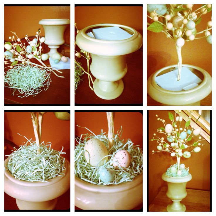 "DIY Spring decor! Colorful Egg Topiary. I used egg sprays from Christmas Tree shoppe($2.99/each) , and the rest of materials I had on hand. Grass, raffia, moss, burlap would all be great substitutes for the filler to hide foam. You can use any container for the base. I had mine stashed for years! kmart clearance ($1.50!!). The eggs for the base were snipped from the sprays leaving about 1"" of wire on them to secure into the foam . Easy & inexpensive. under $7! Fancy it up with a burlap bow!"