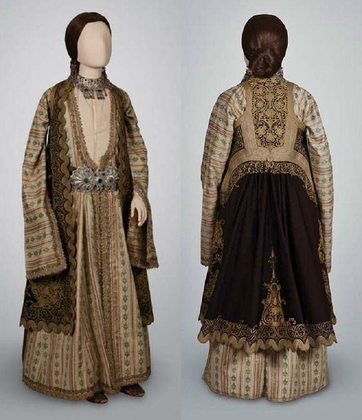 Greek urban costume of Ioannina, NW-Epiros. 19th century.