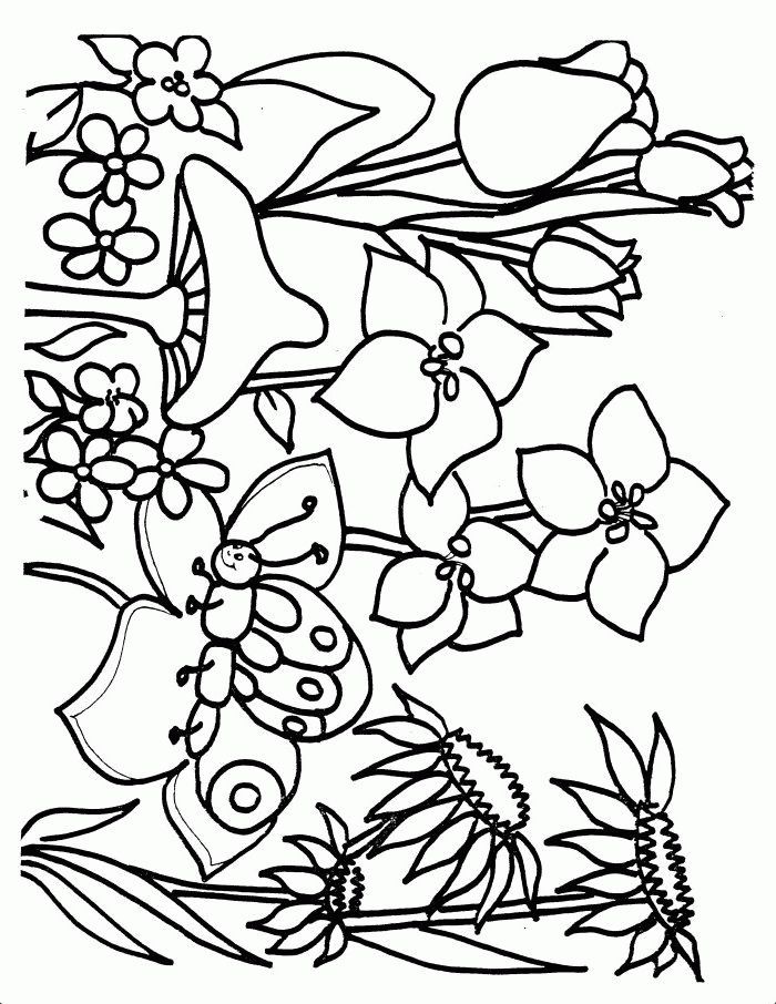 flower page printable coloring sheets spring coloring pages coloringpagesabccom - Spring Coloring Sheets Free Printable