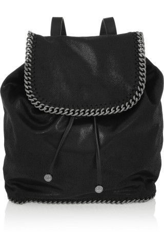 Stella McCartney|Falabella faux black brushed-leather backpack