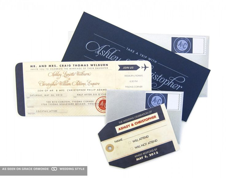 Travel inspired wedding invitation from Ellen Weldon Design.